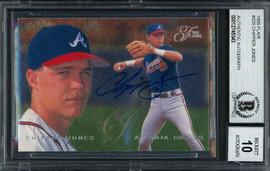 Chipper Jones Autographed 1995 Fleer Flair Card #325 Atlanta Braves Auto Grade Gem Mint 10 Beckett BAS #12745343