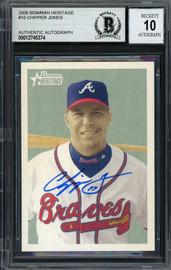 Chipper Jones Autographed 2006 Bowman Heritage Card #16 Atlanta Braves Auto Grade Gem Mint 10 Beckett BAS #12745374