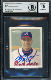 Chipper Jones Autographed 2006 Bowman Heritage Mini Card #16 Atlanta Braves Auto Grade Gem Mint 10 Beckett BAS #12745383