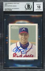 Chipper Jones Autographed 2006 Bowman Heritage Mini Card #16 Atlanta Braves Auto Grade Gem Mint 10 Beckett BAS #12745382