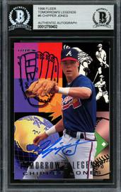Chipper Jones Autographed 1996 Fleer Tomorrow's Legends Card #6 Atlanta Braves Beckett BAS #12750402