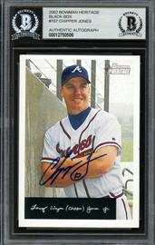 Chipper Jones Autographed 2002 Bowman Heritage Black Box Card #107 Atlanta Braves Beckett BAS Stock #193080