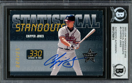 Chipper Jones Autographed 2002 Leaf Rookie & Stars Statistical Standouts Card #SS-5 Atlanta Braves Beckett BAS #12750513