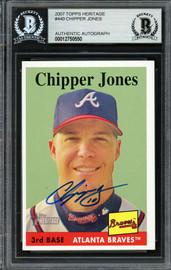 Chipper Jones Autographed 2007 Topps Heritage Card #440 Atlanta Braves Beckett BAS #12750550