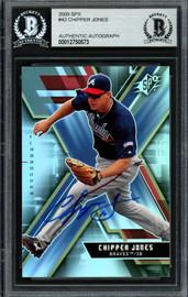 Chipper Jones Autographed 2009 Upper Deck SPX Card #42 Atlanta Braves Beckett BAS #12750573