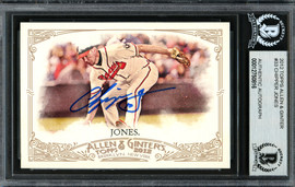 Chipper Jones Autographed 2012 Topps Allen & Ginter Card #33 Atlanta Braves Beckett BAS Stock #193133