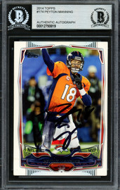 Peyton Manning Autographed 2014 Topps Card #174 Denver Broncos (Smudged) Beckett BAS #12750819
