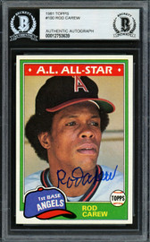 Rod Carew Autographed 1981 Topps Card #100 California Angels Beckett BAS Stock #193230