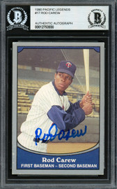 Rod Carew Autographed 1990 Pacific Card #17 Minnesota Twins Beckett BAS Stock #193257