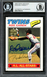 Rod Carew Autographed 2002 Topps Archives Card #146 Minnesota Twins Beckett BAS #12754118