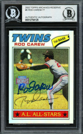 Rod Carew Autographed 2002 Topps Archives Reserve Card #6 Minnesota Twins Beckett BAS #12754125