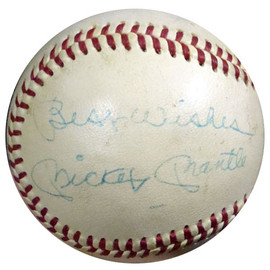 """Mickey Mantle Autographed AL Cronin Baseball New York Yankees """"Best Wishes"""" PSA/DNA #T01394"""