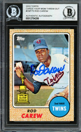 Rod Carew Autographed 2010 Topps Cards Your Mom Threw Out Card #CMT75 Minnesota Twins Beckett BAS #12754206