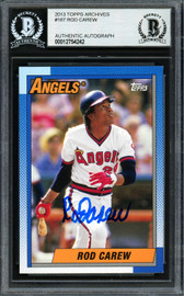 Rod Carew Autographed 2013 Topps Archives Card #167 California Angels Beckett BAS #12754242