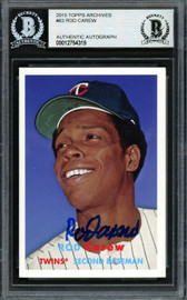 Rod Carew Autographed 2015 Topps Archives Card #63 Minnesota Twins Beckett BAS Stock #193369