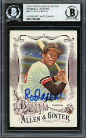 Rod Carew Autographed 2016 Topps Allen & Ginter Baseball's Legends Card #BL-22 Minnesota Twins Beckett BAS Stock #193374
