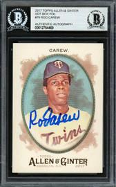 Rod Carew Autographed 2017 Topps Allen & Ginter Foil Card #79 Minnesota Twins Beckett BAS Stock #193387