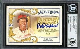 Rod Carew Autographed 2018 Topps Allen & Ginter Fantasy Goldmine Card #FG-46 Minnesota Twins Beckett BAS #12754491