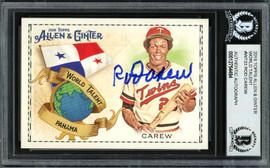 Rod Carew Autographed 2018 Topps Allen & Ginter World Talent Card #WT-33 Minnesota Twins Beckett BAS #12754494