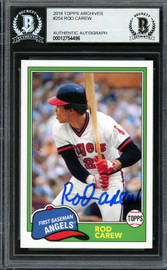 Rod Carew Autographed 2018 Topps Archives Card #254 California Angels Beckett BAS Stock #193404