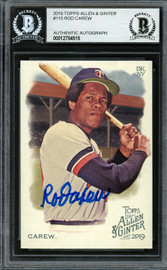 Rod Carew Autographed 2019 Topps Allen & Ginter Card #115 Minnesota Twins Beckett BAS Stock #193412