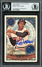 Rod Carew Autographed 2019 Topps Allen & Ginter Baseball Star Signs Card #BSS-17 Minnesota Twins Beckett BAS #12754539
