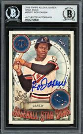 Rod Carew Autographed 2019 Topps Allen & Ginter Baseball Star Signs Card #BSS-17 Minnesota Twins Beckett BAS #12754539