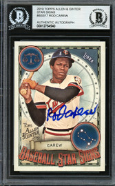 Rod Carew Autographed 2019 Topps Allen & Ginter Baseball Star Signs Card #BSS-17 Minnesota Twins Beckett BAS #12754540