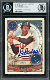 Rod Carew Autographed 2019 Topps Allen & Ginter Baseball Star Signs Card #BSS-17 Minnesota Twins Beckett BAS #12754541