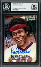 Rod Carew Autographed 2019 Topps Stadium Club Card #288 California Angels Beckett BAS #12754554