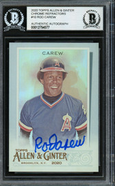 Rod Carew Autographed 2020 Topps Allen & Ginter Foil Card #10 California Angels Beckett BAS #12754577