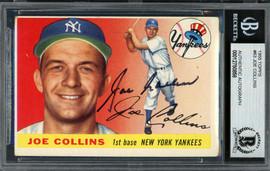 Joe Collins Autographed 1955 Topps Card #63 New York Yankees Beckett BAS #12750858