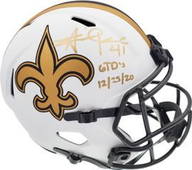 "Alvin Kamara Autographed New Orleans Saints Lunar Eclipse White Full Size Replica Speed Helmet ""6 TD's 12/25/20"" Beckett BAS QR Stock #193489"
