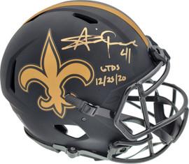 "Alvin Kamara Autographed New Orleans Saints Eclipse Black Full Size Authentic Speed Helmet ""6 TD's 12/25/20"" Beckett BAS QR Stock #193492"