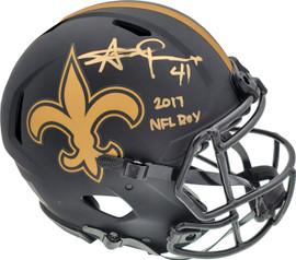 "Alvin Kamara Autographed New Orleans Saints Eclipse Black Full Size Authentic Speed Helmet ""2017 NFL ROY"" Beckett BAS QR Stock #193493"