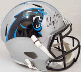 Christian McCaffrey Autographed Carolina Panthers Silver Full Size Speed Replica Helmet (Smudged) Beckett BAS #WH71175