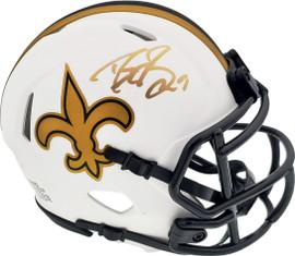 Drew Brees Autographed New Orleans Saints Lunar Eclipse White Speed Mini Helmet Beckett BAS Stock #193680