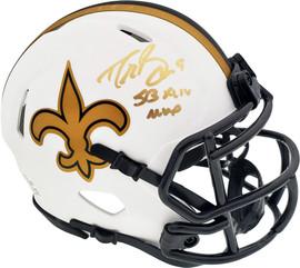 "Drew Brees Autographed New Orleans Saints Lunar Eclipse White Speed Mini Helmet ""SB XLIV MVP"" Beckett BAS Stock #193681"