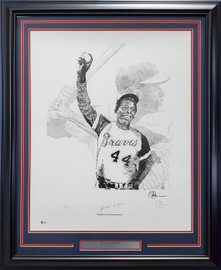 Hank Aaron Autographed Framed 22x28 Lithograph Photo Atlanta Braves Artist Proof #26/44 Beckett BAS #V62671