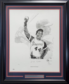 Hank Aaron Autographed Framed 22x28 Lithograph Photo Atlanta Braves Artist Proof #43/400 Beckett BAS #V62672