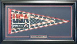 1992 Team USA Olympic Basketball Dream Team Autographed Framed Pennant With 12 Total Signatures Including Michael Jordan PSA/DNA #AC00403