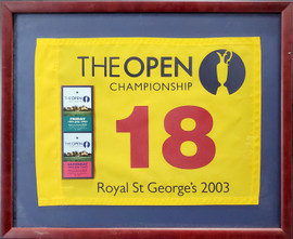 Unsigned Framed 19x23 The Open Championship Flag Ticket Collage SKU #193755