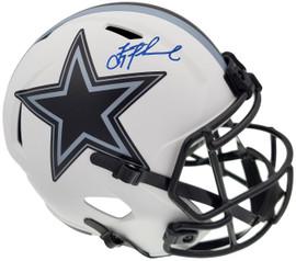 Troy Aikman Autographed Dallas Cowboys Lunar Eclipse White Full Size Replica Speed Helmet Beckett BAS QR Stock #193768