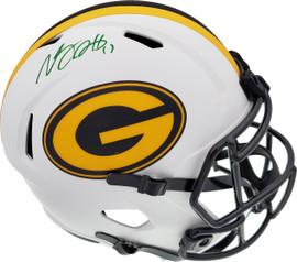 Davante Adams Autographed Green Bay Packers Lunar Eclipse White Full Size Replica Speed Helmet Beckett BAS QR Stock #193769