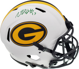 Davante Adams Autographed Green Bay Packers Lunar Eclipse White Full Size Authentic Speed Helmet Beckett BAS QR Stock #193771