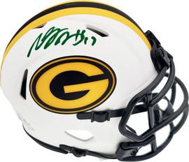 Davante Adams Autographed Green Bay Packers Lunar Eclipse White Speed Mini Helmet Beckett BAS QR Stock #193772