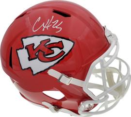 Clyde Edwards-Helaire Autographed Kansas City Chiefs Red Full Size Replica Speed Helmet Beckett BAS QR Stock #193777