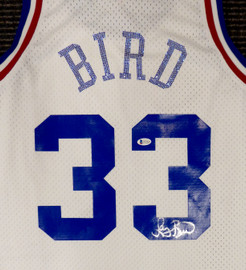 Boston Celtics Larry Bird Autographed White Mitchell & Ness 1988 All Star Game Rhinestone Swingman Jersey Size XL (Smudged) Beckett BAS #WA54224
