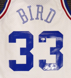 Boston Celtics Larry Bird Autographed White Mitchell & Ness 1988 All Star Game Rhinestone Swingman Jersey Size L (Smudged) Beckett BAS #WA54235