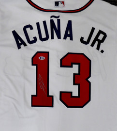 Atlanta Braves Ronald Acuna Jr. Autographed White Majestic Cool Base Jersey Size L (Mark) Beckett BAS #Y10984